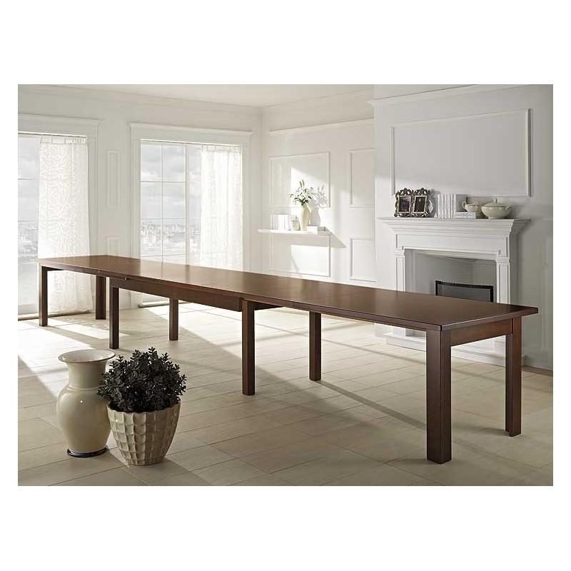 Tavolo in legno l 250 cm allungabile fino a 6 metri art for Produttori tavoli allungabili