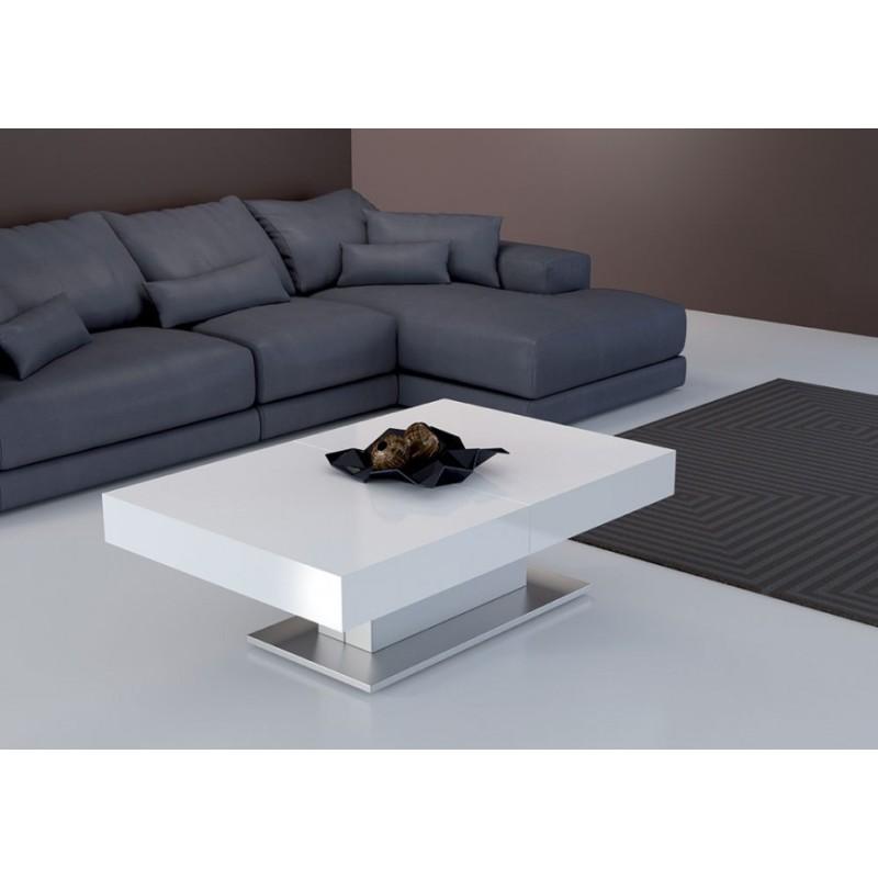Tavolino da salotto bianco lucido trasformabile in tavolo for Salotto bianco
