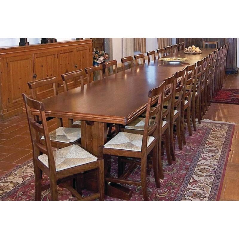 Tavoli Allungabili In Legno Arte Povera.Tavolo In Legno L 220 Cm Allungabile Fino A 5 5 Metri Art Rol 848