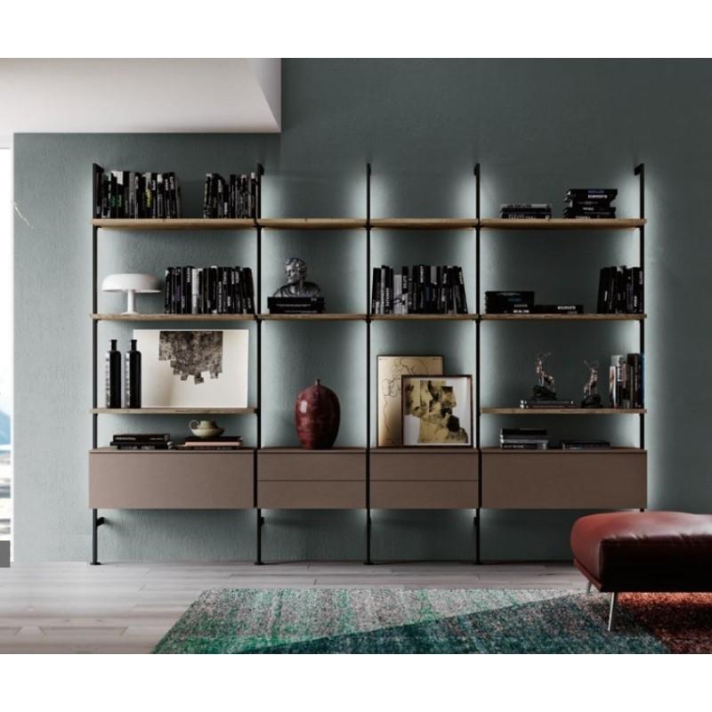 Libreria con montanti in ferro art. QSM604