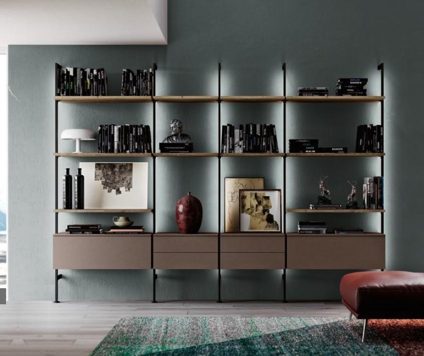 Libreria Con Montanti In Ferro Art Qsm604