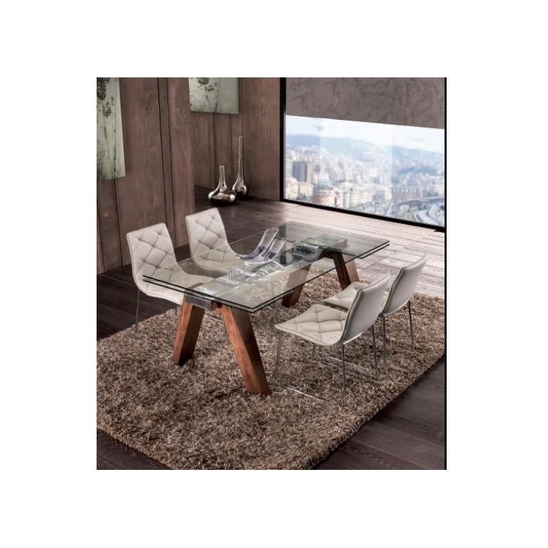 tavolo 654ls 160x90 allungabile con piano in cristallo e gambe in ...