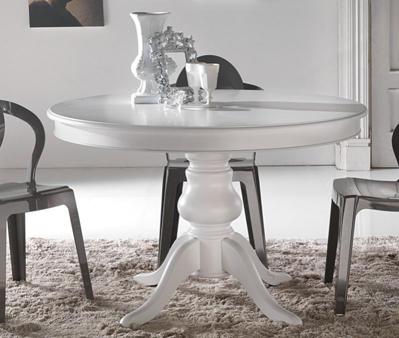 tavolo tondo allungabile laccato bianco