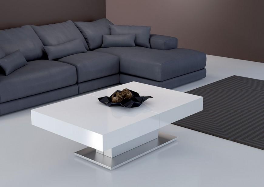 Tavolino Da Salotto Trasformabile In Tavolo.Tavolino Da Salotto Bianco Lucido Trasformabile In Tavolo L